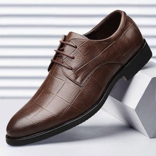 Men Leather Formal Shoes Lace Up dress shoes Oxfords Fashion Retro Shoes Elegant work Footwear Business Plus Size