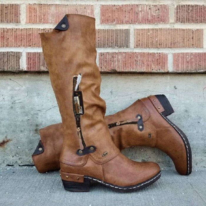 Womens Boots Can Store Zip Mid-tube Platform Boot Leather Knight Boot Chelsea Boot Western Cowboy Boots Warm Autumn Winter Shoes