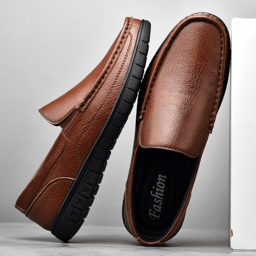 Men Boat Shoes Casual Business Formal Mens Loafers Shoes Moccasins Flat Shoes Fashion Split Leather Slip on Driving Footwear Man