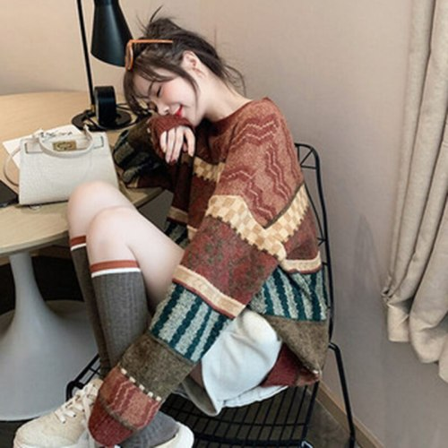 Plaid Jacquard Knitted Sweater Women O-Neck Long Sleeve Loose Jumpers Vintage Colorful Harajuku Pullovers Autumn Winter