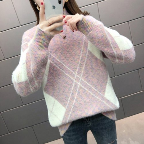 Thick Women Sweater Winter Turtleneck Pullover Knitted Sweater Loose Warm Fashion Plaid Jumper Casual Oversize Female Tops