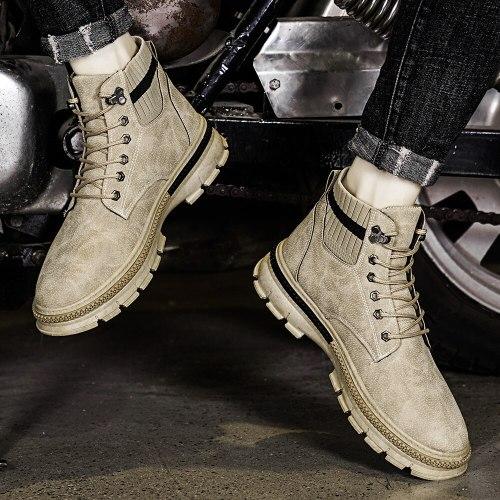 Men Basic Boots Men Autumn & Winter Fashion Shoes Men Design Leather Lace-Up Boots Male Comfy Classic Casual Ankle Men Boots
