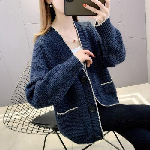 Korean Wide Knitted V-neck Cardigan Women Autumn Single Breasted Sweater Coat Women Outwear Sweater Female