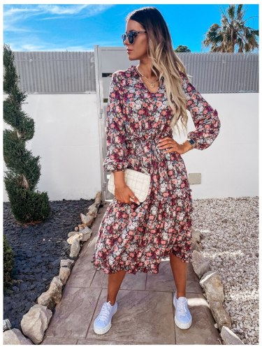 Women Sexy Bohemia Flower Printed Vacation Beach Party Casual Long Sleeve Dress