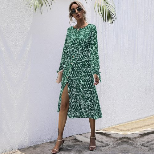 Autumn Winter Dot Print Long Dress Women Casual O Neck High Waist Slim Button Full Sleeve Dress For Women 2021 New Fashion