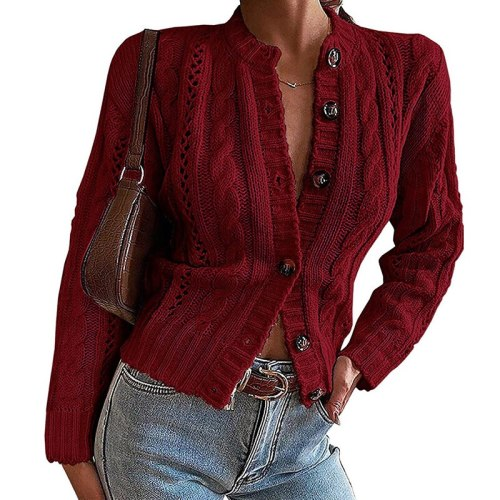 Elegant Elegant Solid Hollow Out Coats Women Fashion Twist Tops Cardigan Autumn Winter Casual Long Sleeved Sweaters Knit Sweater