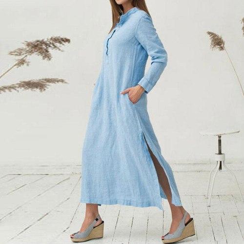 Women Cotton Dress 2021Spring Summer Long Sleeve Maxi Long Dresses Sexy Split Casual Loose Plus Size