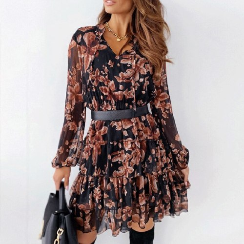 Summer V Neck Floral Print Women Loose Dress Casual Long Sleeve Cascading Ruffle Dress Elegant Lady Colorful Party Holiday Dress