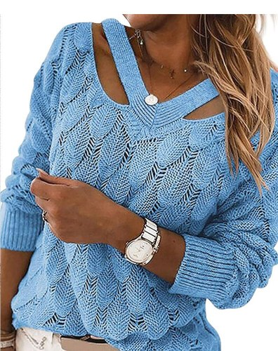 2021 Fashion Trend Women Knitted Sweater Autumn Winter Hollow Out Feather Pattern Long Sleeve V-neck Pullover Casual Tops