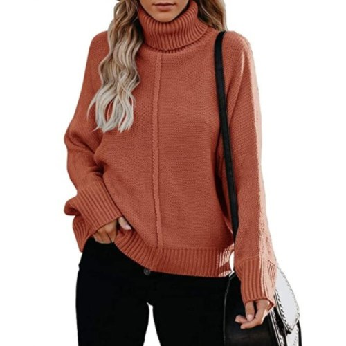 New Women Pullover TurtleNeck Sweater 2021 Autumn Winter Casual Clothes Warm Knitted Bohemian Holiday Ladies Loose Fashion Top