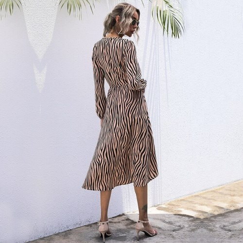 Zebra V-Neck Lace casual Summer Dress For Women 2021 Fall Wrapped Midi Dress Long Sleeve Female Clothing MidWaist Print Commuter