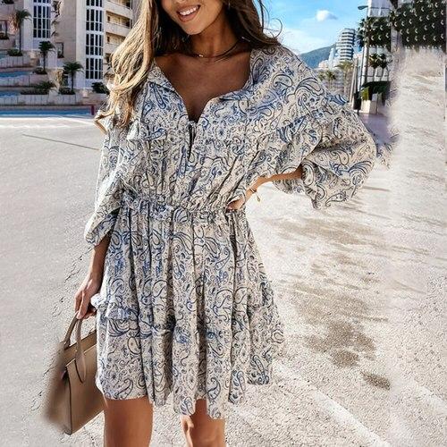 Casual Ruffle Print Mini Dress Woman Spring Fashion Lantern Sleeve Deep V-neck Loose Vestidos Summer Blue Dresses For Women 2021