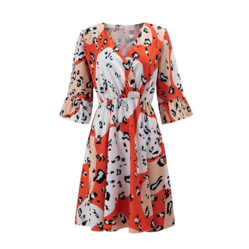 Leopard Dress Summer Ladies V-Neck Butterfly Sleeve Dresses Streetwear Vestidos De Mujer Fashion Robes Femme Party Outfits Women