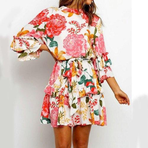 2021 Autumn print round neck mid-sleeve stitching ruffled temperament dress