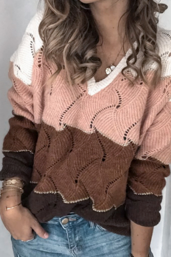 2021 New Autumn Winter Women Tops V-Neck Long Sleeve Loose Women Sweater Fashion Patchwork Thick Pullover Casual Plus Size Tops