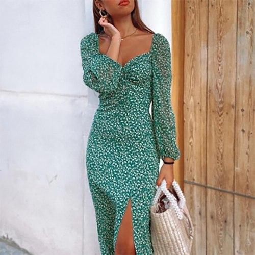 Floral Print Square Neck Split Maxi Long Dress Women Autumn Casual Long Sleeve Dress Boho Green Lady Beach Holiday Vestidos 2021