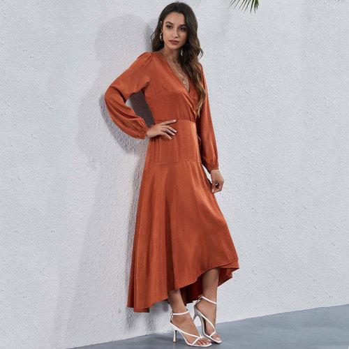 2021 Autumn Long Sleeve Maxi Dress Women Slit Party Dress Ladies High Waist Long Elegant Dress For Women