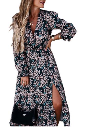 Spring Autumn Chiffon Floral Dress Elegant Women's Long Dress 2021 Split V-Neck Long Sleeve Robe Longue Vestidos De Mujer Casual