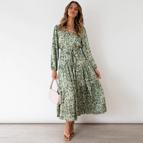 Floral Dress Women Vintage Long Sleeve Green Long Maxi Dress 2021 Spring Autumn Winter New Print Boho Dress