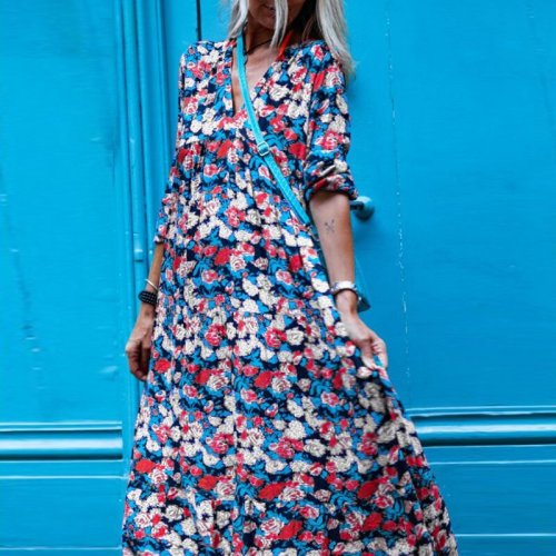 New Sexy V-Neck Women Beach Maxi Dresses Fashion Casual Puff Long Sleeve Ladies Retro Long Dress Elegant Print Loose Party Dress