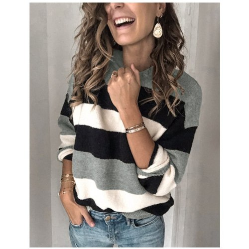 New Women Color Block Sweater Autumn and Winter Casual Style Long Sleeve Round Neck Striped Pullover streetwear