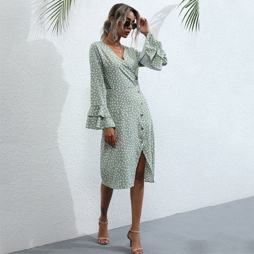 Lotus Sleeve Sexy Party Style Fashion Printed Chiffon Dress Europe Botton Irregular Neck Summer 2021