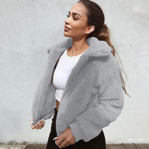 Oversized Long Fluffy Autumn Winter Warm Wear 2021 Winter Fleece Sweatshirt Sherpa Fleece Female Hoodies Overcoat Jacket Coat