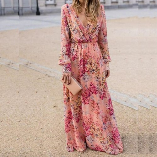 Summer Women Long Sleeve Maxi Dress Sexy Deep V-Neck Floral Print Pink Long Dress Woman Fashion Wiggle Beach Dresses Robe Longue