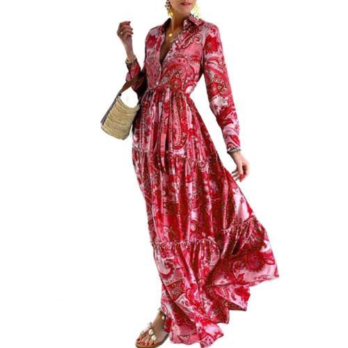 Women's Dress Floral Print Turn-down Collar Button Pleated Maxi Beach Dress Women Turn-down Collar Shirt Dress