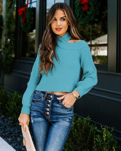 Sweater Women Autumn And Winter 2021 New Sexy Off-Shoulder Solid Color Slim  Hanging Neck Fashion Knit Clothes