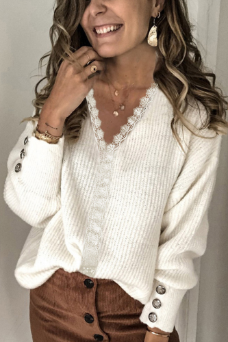 Women Knitted Pullovers Lace Stitching V-Neck Long-sleeve Solid Color Sweaters Autumn Casual Top Clothing Female Sweaters