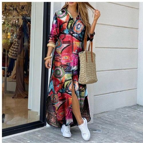 2021 New Women Long Sleeve Shirt Dress Spring Printed Maxi Dresses Ladies Turn-Down Collar Loose Sundress Party Dresses