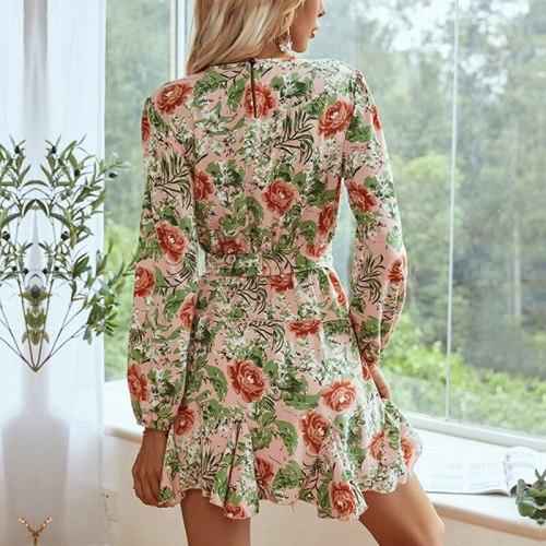 Long Sleeve Flowers Print Mini Dress Women Autumn O Neck Floral Ruffles Sashes Short Dresses Female Vacation Vestidos Chic 2021