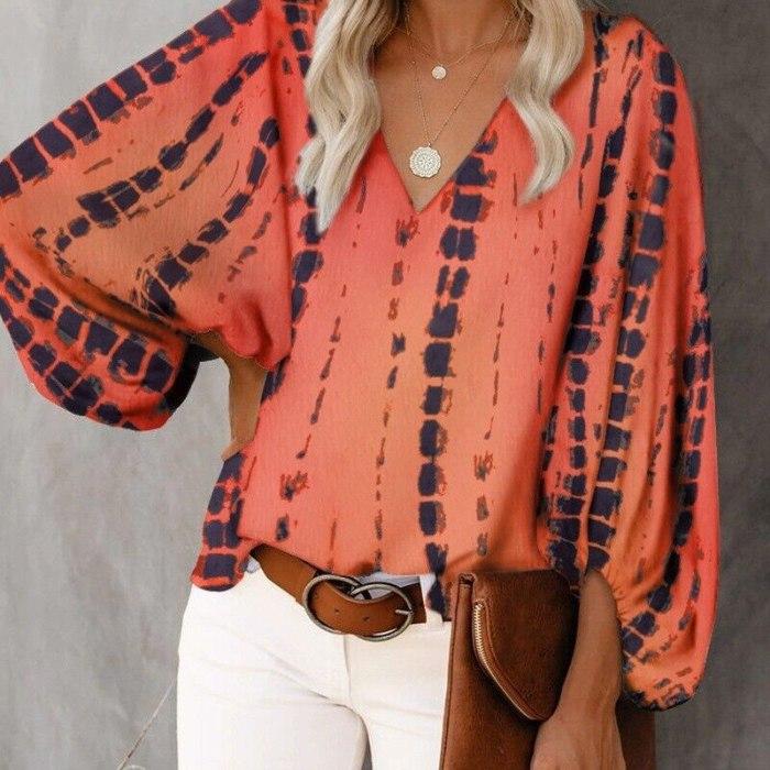 Women's Blouse Print Blouses Tops Women's Clothing 2021 Summer V-Neck Fancy Lantern Sleeve Shirt For Femme Blusas Mujer De Moda
