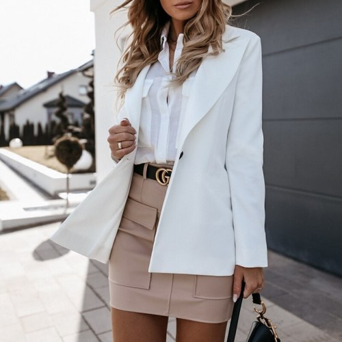 Autumn Winter Fashion Women Solid Color Casual Long Sleeve Suit Small Jacket Slim Turn-down Collar Slim Buttons Elegant Cardigan