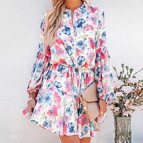 Autumn Single Breaste Sashes Ruffle Shirt Dress Flower Print Women Pink Boho Short Dress O Neck A Line Lady Party Vestidos 2021