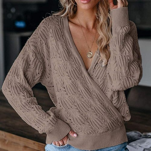 Fashion Warm Solid Women Knitted Sweater Casual Autumn Winter Deep V-neck Female Pullover Tops Ladies Long Sleeve Jumper Blusas