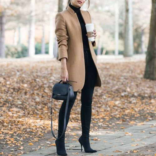 2021 Autumn Winter Thin Cardigan Solid Stand Collar Women Wool Coat Fashion Female Long Jackets Coats Plus Size