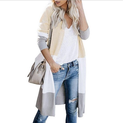 Autumn Winter Fashion Cardigan Women 2021 Cashmere Knitted Outwear Sweaters Female Patchwrok Casual Long Cardigans Coats