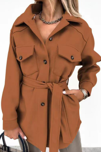 Winter Thickened Woolen Cloth Shirt Women Lapel Button Lace Up Pocket Cardigan Coat 2021 Fashion Street Large Size Blouse Tops
