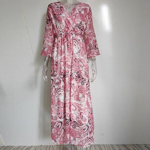 Nine Quarter Sleeve V-neck Summer Autumn Beach Ladies Dress Ethnic Floral Print Elastic Waist Vintage Fashion Women Maxi Dresses