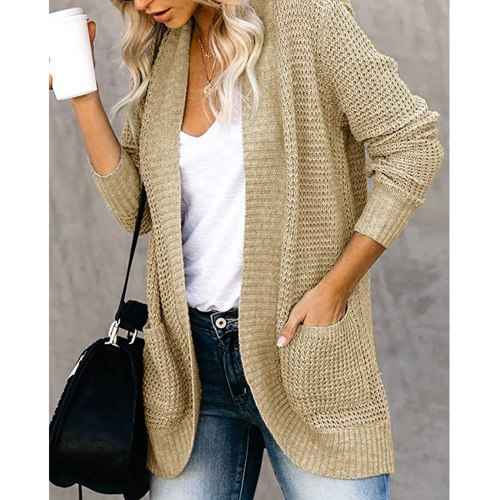 Women's Solid Color Simple Style Casual Cardigan Long-sleeved Autumn Winter Knitted Sweater Korean Fashion Loose Sweater