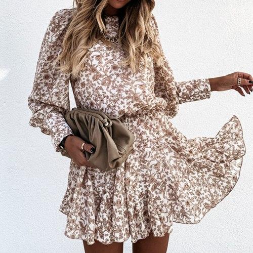 Simple Brown Flower Print Vinatge Dress Women's Long Sleeve Street Wear Autumn Winter  Dress Casual Office Lady Clothes