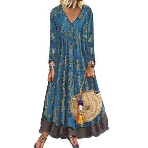 Vintage Long Sleeve Dress Casual Long Dress Loose Woman Fashion Clothes V Neck Vestido Midi Casual