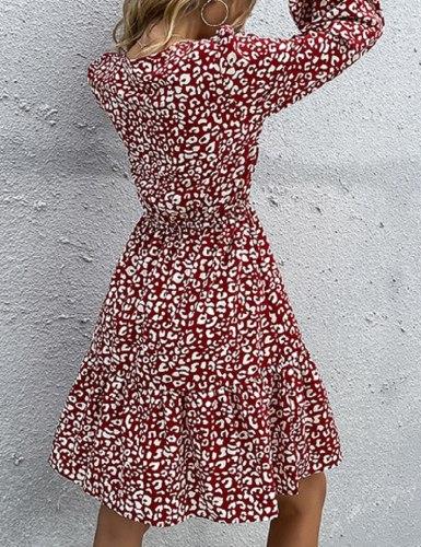 Elegant Fashion Women Long Sleeve Dress 2021 Autumn New O Neck Chiffon Leopard Print Dresses Lace-up A-line Midi Dress For Woman