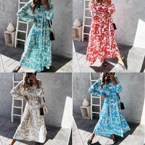 Women 2021 Aliex autumn bimba printed v-neck long sleeve dress press femme  Robe pour femmes trafaluc lola store