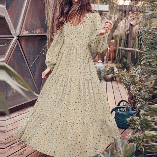 Vintage Ladies Long Sleeve Maxi Dresses for Women Floral Printed Summer Plus Size Dress V-Neck Puff Sleeve Boho Sundress 2021