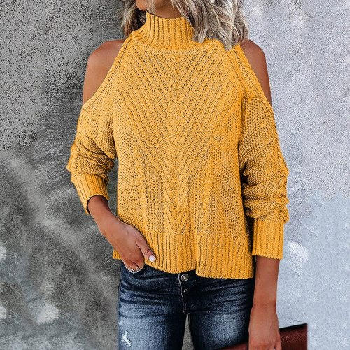 Fashion Off Shoulder Sweater Pullover Ladies Solid Color Knitted Long-Sleeved Turtleneck Tops Autumn All-Match Women'S Clothing