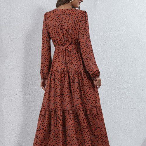 Autumn Fashion Sexy Dress for Women Bohemian Casual High Waist Maxi Robe Boho Leisure Satin Soft Solid Women's Clothing
