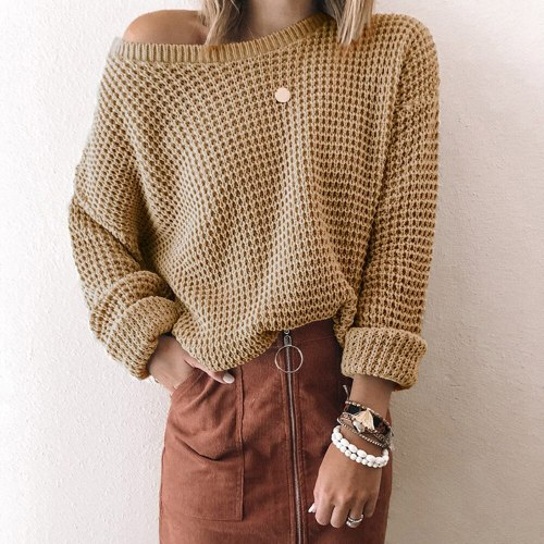 Autumn Winter Casual Sweater Women Knitted Solid Color Long-sleeved Loose Sweaters Ladies Pullover Top 2021 Women's Clothing